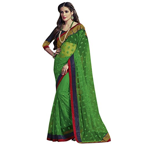 Fancy Alluring Green Colored Border Worked Jute Net Saree By Triveni