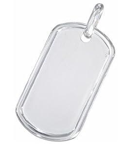 "Italian Silver Raised Border Small Plain Dog Tag Pendant 1.5"" from iJewelry2"