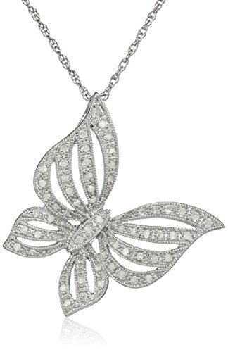 Silver Butterfly Diamond Pendant Necklace (1/4 Cttw, I-J Color, I2-3 Clarity)