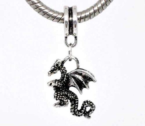 Housweety 20 Silver Tone Dragon Dangle Beads Fit Charm Bracelet