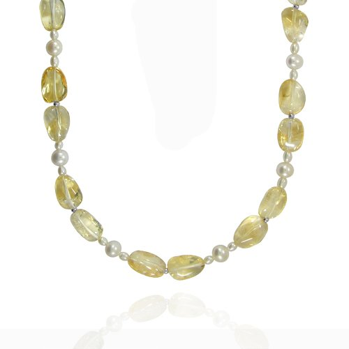 Sterling Silver Nugget Shape Inclusion Citrine and Freshwater Cultured Pearl Necklace, 32
