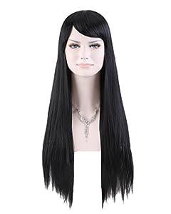 Cool2day Cute natural Fashion Long Straight Wig Kanekalon BLACK Full Wigs jf010161