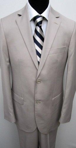 MUGA mens Suit elegant, Slim-line, 2-vents , Beige, size 48L (EU 110)