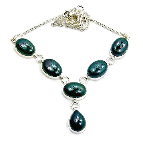 Sterling Silver Rare Natural Bloodstone Y-Necklace