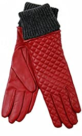 Quilted Glove with Knit Cuff Red