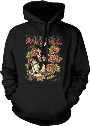 Devota, Dia De Los Muertos Mens Gothic Sweatshirt, Sugar Skull Woman Tattoo Style Pullover Hoodie, Medium, Black