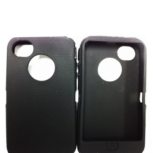 Replacement Silicone Skin For iphone 4/4s Otterbox Defender case with Oval cutout by SportyGigabite - Black (Iphone 4 Silicone Cover compare prices)