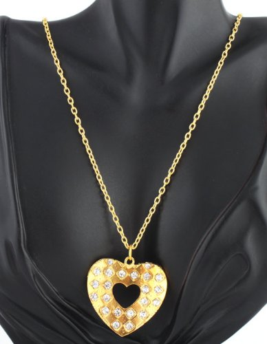 Ladies Gold Iced Out Cut Out Center Checkerboard Style Heart Pendant with a 26 Inch Chain Necklace