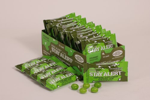 STAY ALERT Military Caffeine Energy Gum - SPEARMINT - TRAY (24 packs, 5 pcs/pack) 100mg Caffeine/piece
