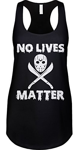 [Blittzen Womens Tank No Lives Matter - Jason Mask, L, Black] (Jason Vorhees Masks)