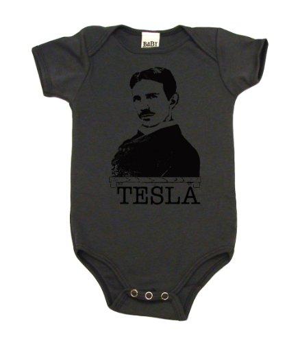Nikola Tesla The Inventor On Infant Onesie, 3-6 Mo, Asphalt front-989081