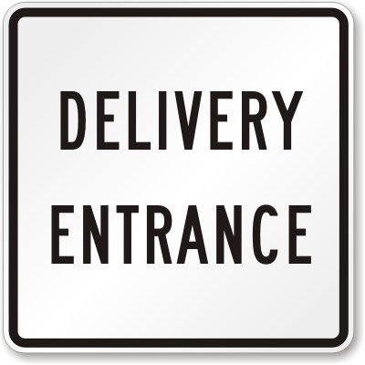 "Smartsign 3M Engineer Grade Reflective Sign, Legend ""Delivery Entrance"", 24"" Square, Black On White"