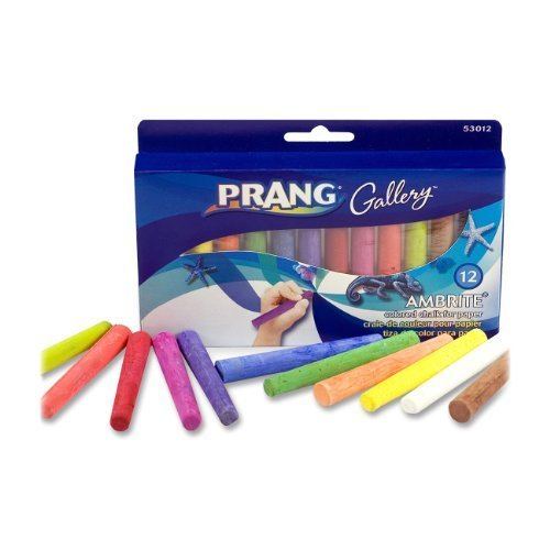 Prang Ambrite Colored Chalk for Paper, Tapered, 3.188 x 0.438 Inches, Assorted Colors (53012) (2-Pack of 12)
