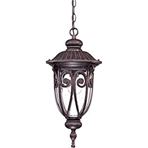 Nuvo 60/2068 Hanging Lantern with Clear Seeded Glass, Burlwood