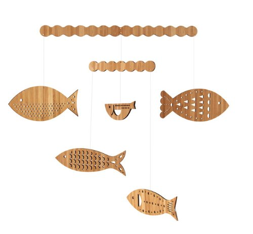 Petit Collage Classic Bamboo Viscose Mobile, School Of Fish front-353123