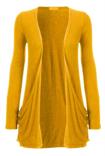 Hot Hanger Ladies Pocket Long Sleeve Cardigan : Color - Mustard : Size - 12-14 ML (Boutique Clothing For Women compare prices)