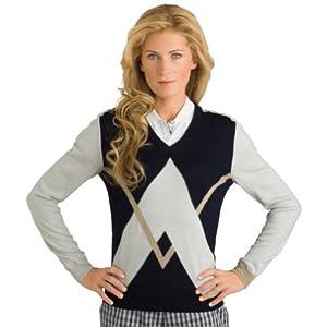 Aquascutum Golf Ladies Long-Sleeve V-Neck Argyle Sweater by Aquascutum Golf