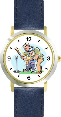 Father Teaching Son how to Bat Baseball Theme - WATCHBUDDY® DELUXE TWO-TONE THEME WATCH - Arabic Numbers - Blue Leather Strap-Children's Size-Small ( Boy's Size & Girl's Size )