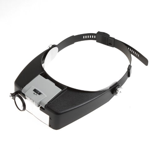 Watch Repair Head Headband Glasses Magnifier Loupe 10X With LED Light Gray