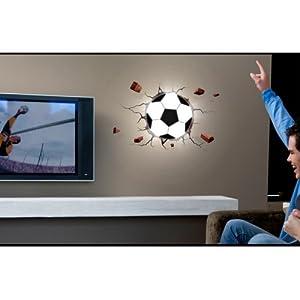 XuMarket(TM) Wall Decor 3D Night Light Football 3D DIY LED Night Light with DIY Wallpaper for Bedroom Living Room, Random Delivery from XuMarket
