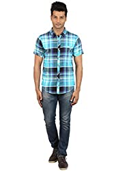 Le Tailor Men's Slim Fit Casual Checkered Shirt (SLCHS102, Black & Blue)
