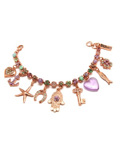 24K Rose Gold Plated Bracelet from 'Spring Vibration' Collection by Amaro Jewelry Studio Embellished with Rainbow Fluorite, Labradorite, Lavender Cape Amethyst, Amethyst, Amazonite and Swarovski Crystals, Set with Heart, Anchor, Starfish, Horseshoe, Hamsa