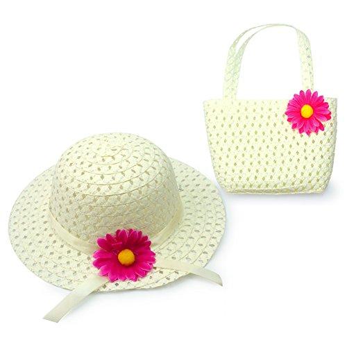 Kinder Sommer Strohhut Mütze Strohtasche Handtasche Sonnenhut Outdoorhut Weiß