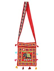 Rajrang Indain Designs Elephant Printed Cotton Embroidered Work Red Sling Bag