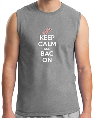 Keep Calm And Bac On Funny Bacon Sleeveless T-Shirt 2Xl Sport Grey