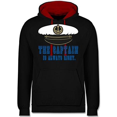 statement-shirts-the-captain-is-always-right-3xl-schwarz-rot-jh003-unisex-damen-herren-kontrast-hood
