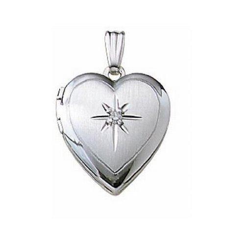 14k White Gold Heart Locket W/ Genuine Diamond 1/2 Inch X 1/2 Inch