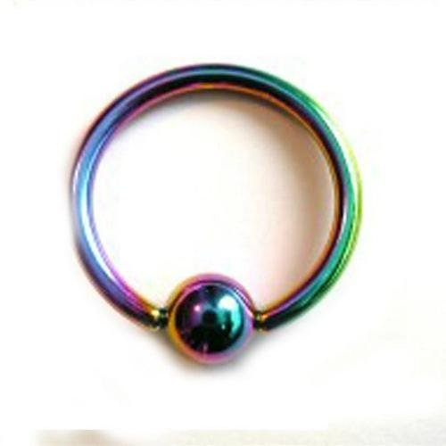 4 - 14 Gauge 1/2 Inch 5Mm Ball Rainbow Titanium Anodized Captive Eyebrow Lip Nose Ring C44