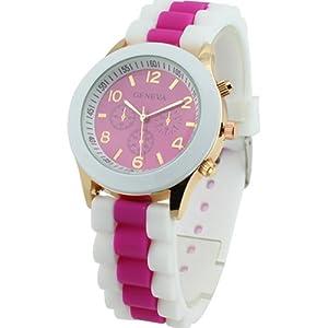 Women's Geneva Silicone Band Jelly Gel Quartz Wrist Watch Rose-red