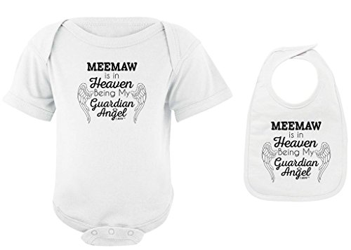 Baby Gifts For All Meemaw in Heaven Being my Guardian Angel Bodysuit Bib Bundle