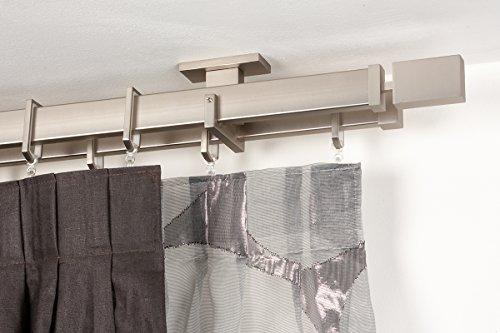 bastone-doppio-per-tende-31x12-mm-rettangolare-l-300-cm-in-acciaio-satinato-completo