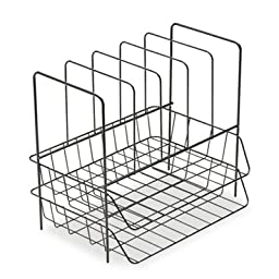 Double Tray with Sorter, Seven Sections, Wire, 13 3/4 x 10 1/8 x 12 1/2, Black, Sold as 1 Each