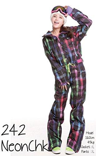 スノーウェア つなぎ ワンピース PUNKY 0242 Neon-Chk レディース(女性用)M-size