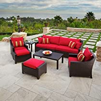 Big Sale RST Outdoor Cantina Sofa and Club Chair Seating Set with Side and Coffee Tables, 7-Piece