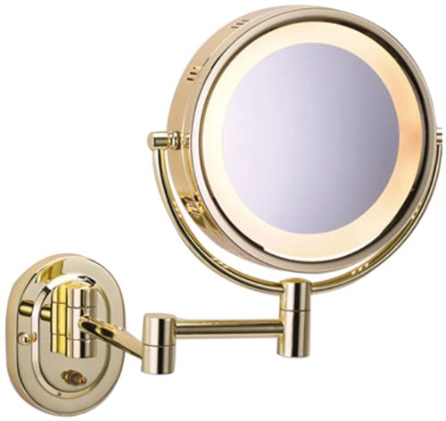 See All Hlbsa895 Halo Lighted 8-Inch Diameter Wall Mounted Make Up Mirror 5X, Brass front-750798
