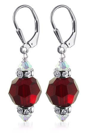 SCER266 Made with Swarovski Elements 10mm Faceted Round Garnet Crystal .925 Sterling Silver Leverback 1.5