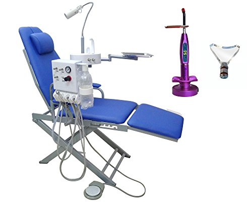 APHRODITE Portable Mobile Chair Turbine Unit 4H with LED Lamp + Waste Basin Blue+5W Wireless Cordless LED Curing light Purple (Dental Unit Chair compare prices)