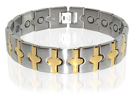 New Stainless Steel Mens Wide Magnetic Bracelet 8.75 ""