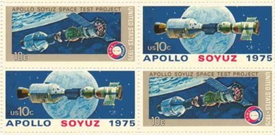 Apollo Soyuz Space Test Set of 4 x 10 Cent US Postage Stamps NEW Scot 1569-70