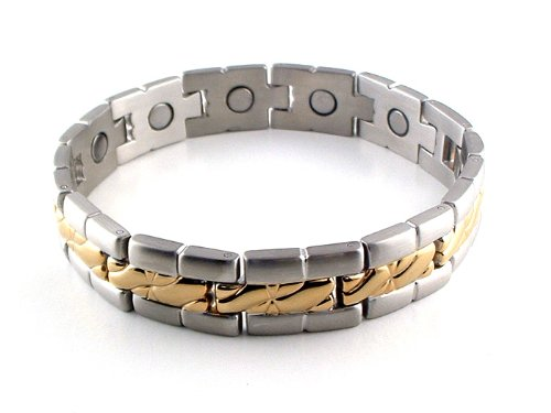 Silver & Gold Stainless Steel Link Magnetic Bracelet #22GS 8″