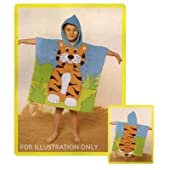 Childrens Tiger Hooded towel Poncho 100% cotton beach towel (60 x 120 cm)