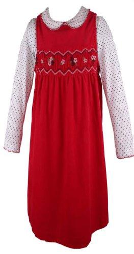 B T Kids Girls Red Corduroy Smocked Dress-2 Toddler front-12390