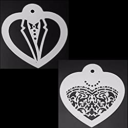 LussoLiv 2Pcs Wedding Apparel Cookie Stencil Icing Sugar Coffee Cake Biscuit Fondant Stencil