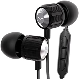 V-MODA Bass Freq Metal 3-Button Mic In-Ear Noise-Isolating Headphone for Apple (Nero)
