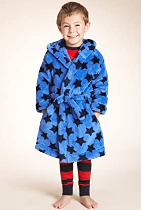 Younger Boys' Star Print Hooded Dressing Gown