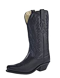 Old West Women\'s Fashion Cowgirl Boot Black 7.5 M US